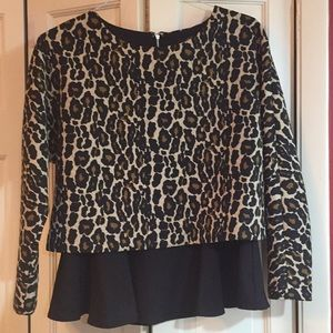 Ark & Co. Leopard and Black Long Sleeve Top, S